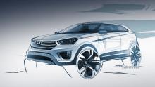 Автомобильные новости, официальный скетч Hyundai Creta, кроссоверы Хундай